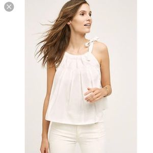 BNWT Anthropologie Maeve Tie Strap White Top L
